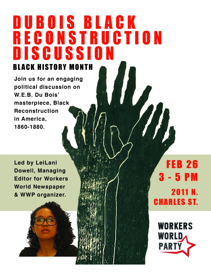 Flyer for a discussion on DeBois' work Black Reconstruction